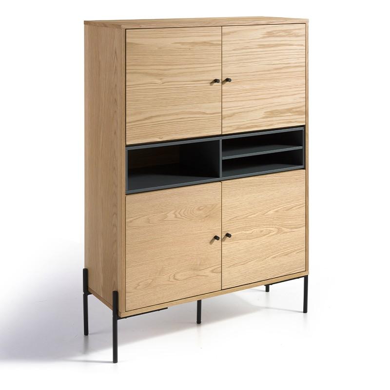 Aparador alto en cuerpo chapa de madera roble y compartimentos en gris