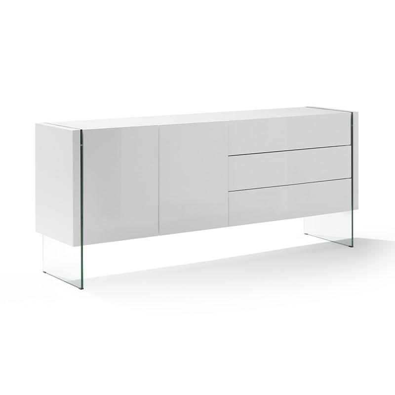 Aparador de diseño en blanco brillo y patas en cristal