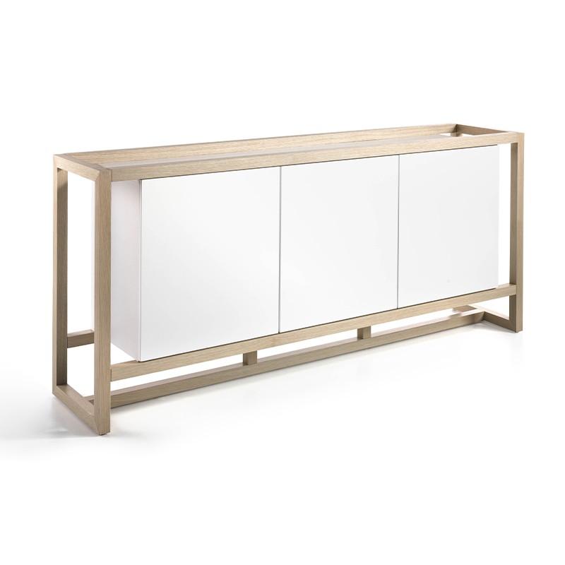Aparador con cuerpo en madera roble y puertas blancas brillo