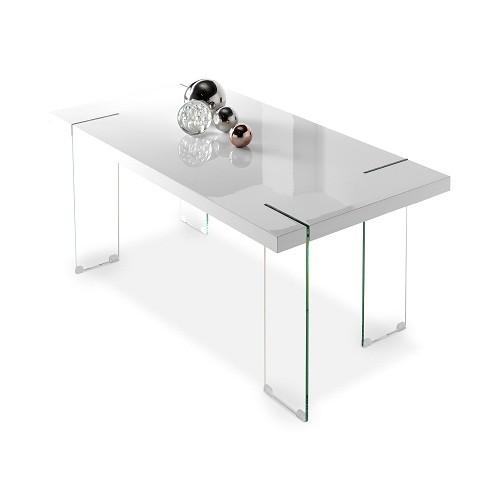 Mesa de comedor de diseño patas en cristal