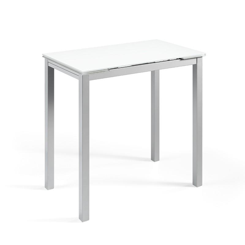 Mesa Calcuta alta extensible en cristal color blanco puro