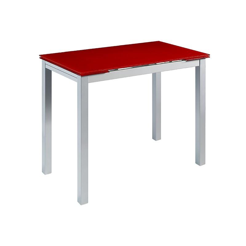 Mesa Calcuta alta extensible en cristal color rojo
