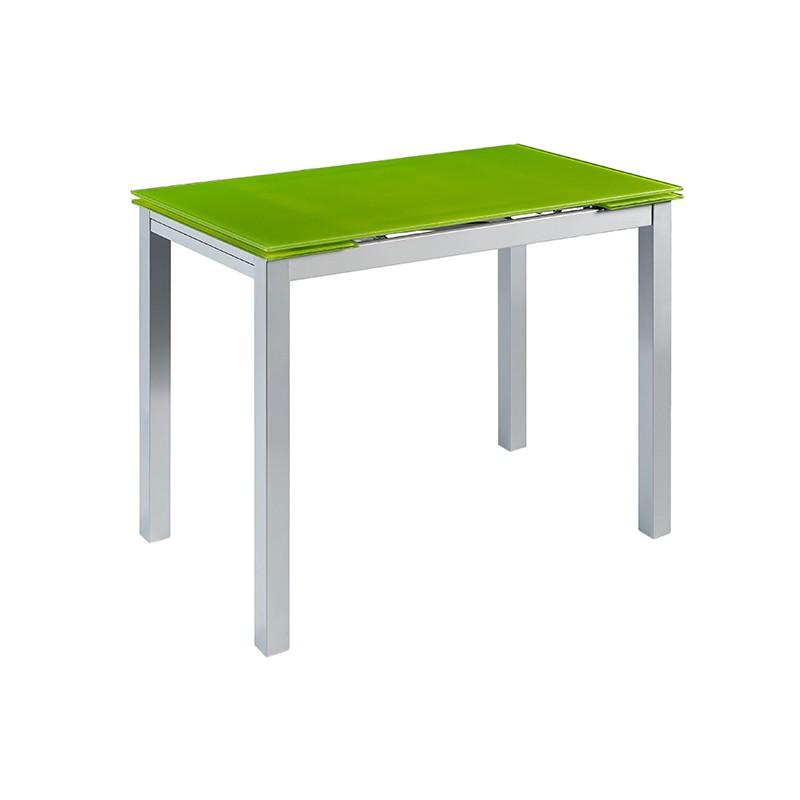 Mesa Calcuta alta extensible en cristal color verde