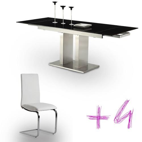 Conjunto de mesa cristal negro y 4 sillas mod. Febea-Hermes-blanca