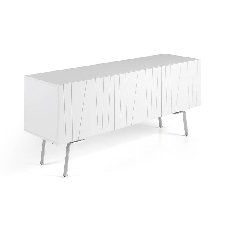 Módulo Tv diseño en blanco brillo y patas en acero pulido