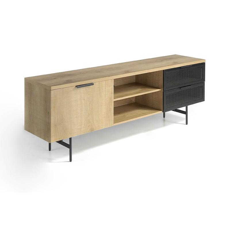 Módulo Tv cuerpo en madera de roble y chapa en metal color negro mate