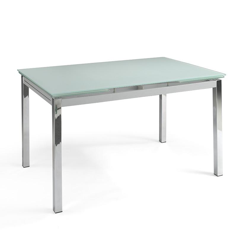 Mesa extensible Binca en cristal blanco y patas cromadas