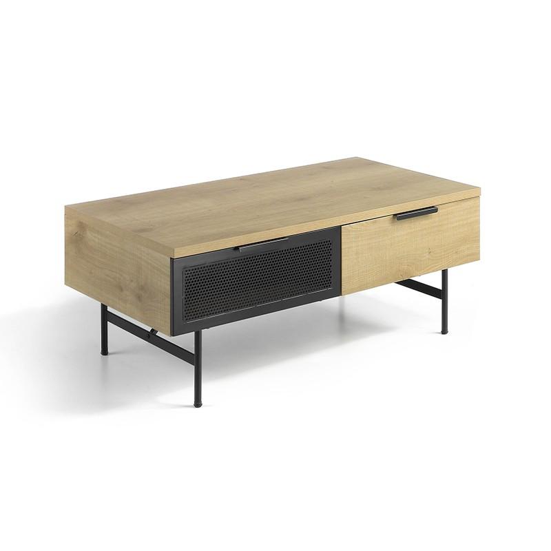 Mesa de centro cuerpo madera roble y metal negro mate