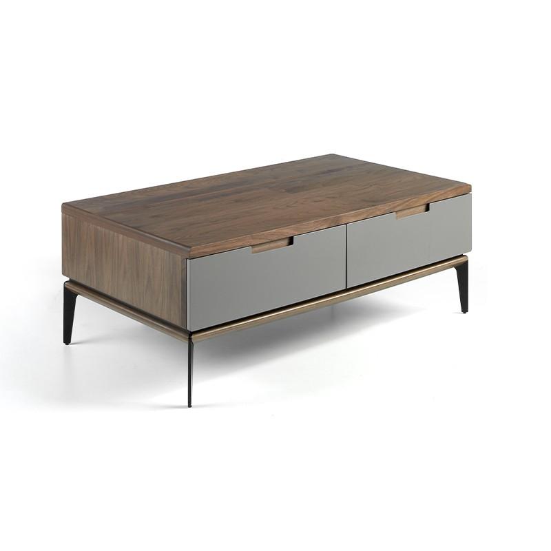 Mesa de centro chapa de madera en nogal y gris