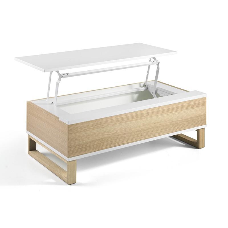 Mesa de centro elevable cuerpo roble y blanco
