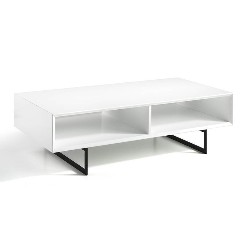 Mesa de centro blanco brillo compartimentos abiertos