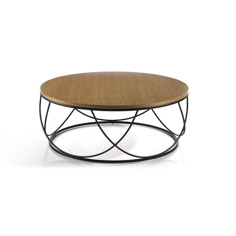 Mesa de centro circular con tapa en chapa de madera de roble