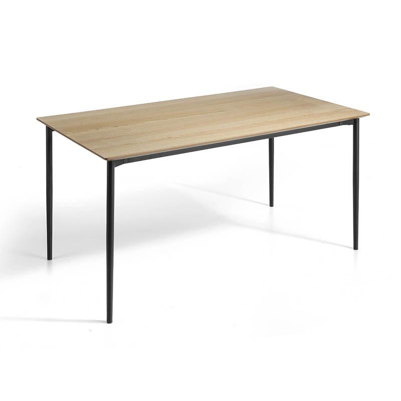 Mesa de salón fija en chapa de madera de roble