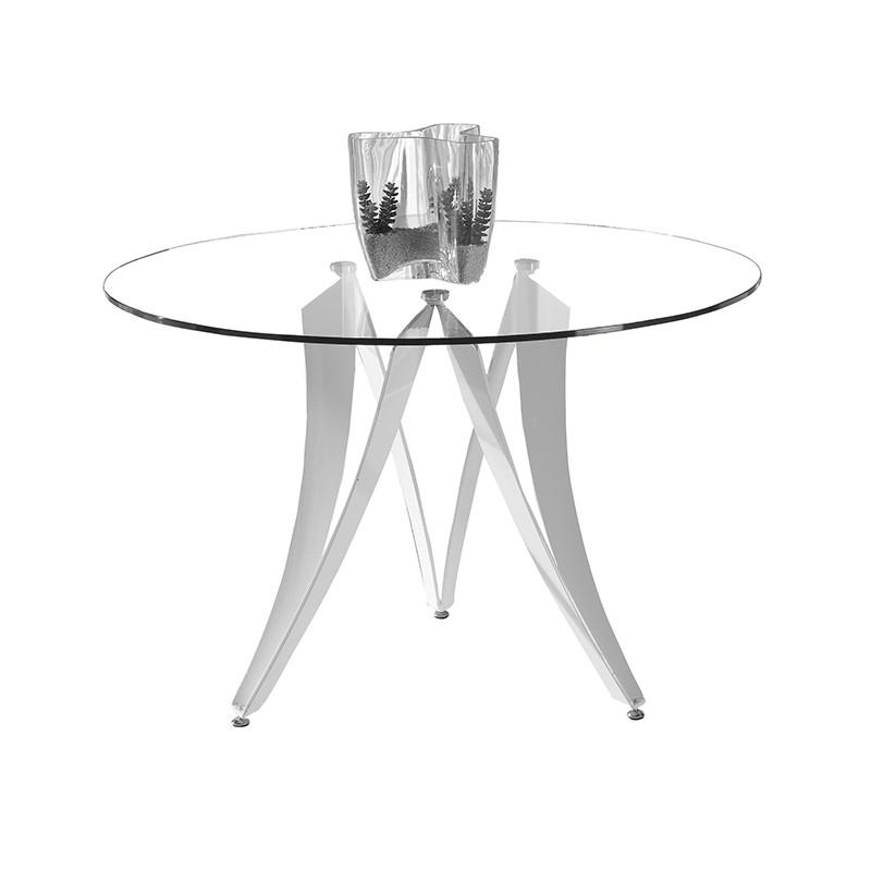 Mesa de comedor circular tapa vidrio transparente y patas de diseño