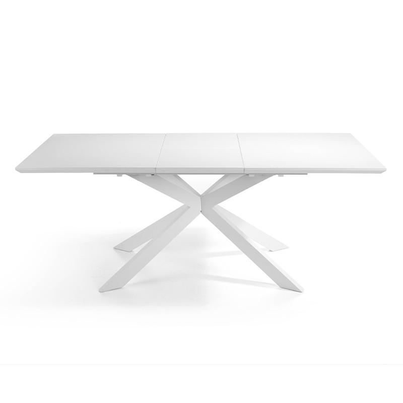 Mesa extensible en Dm blanco mate y patas metálicas