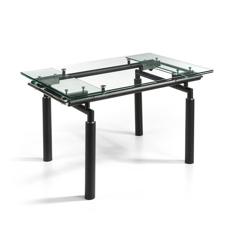 Mesa de salón extensible cristal transparente