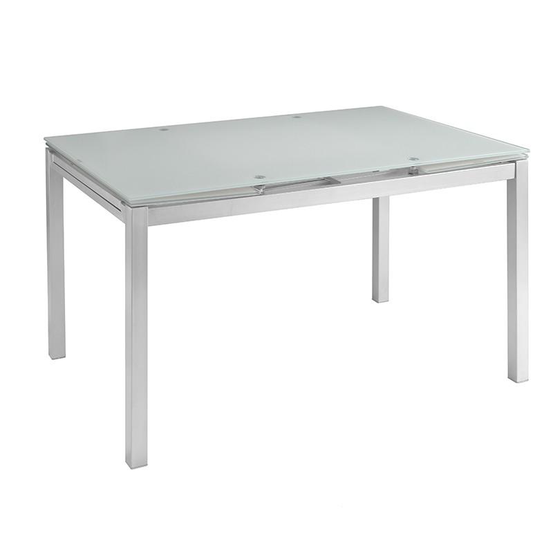 Mesa extensible Helen en cristal blanco y patas color gris