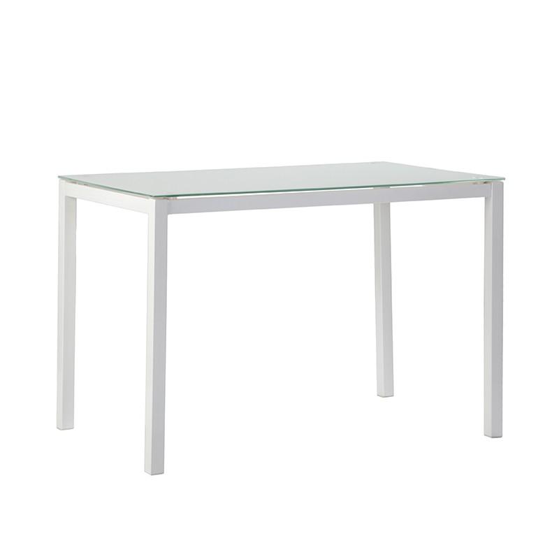 Mesa en cristal templado de color blanco