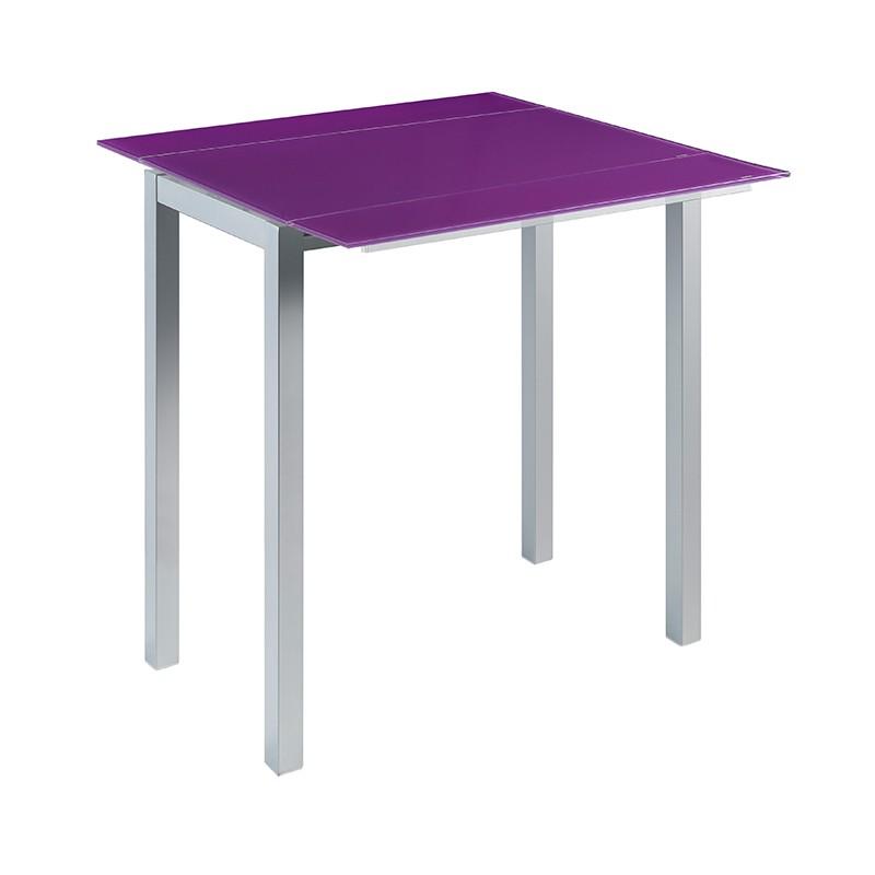 Mesa alta extensible en cristal blanco o morado a elegir