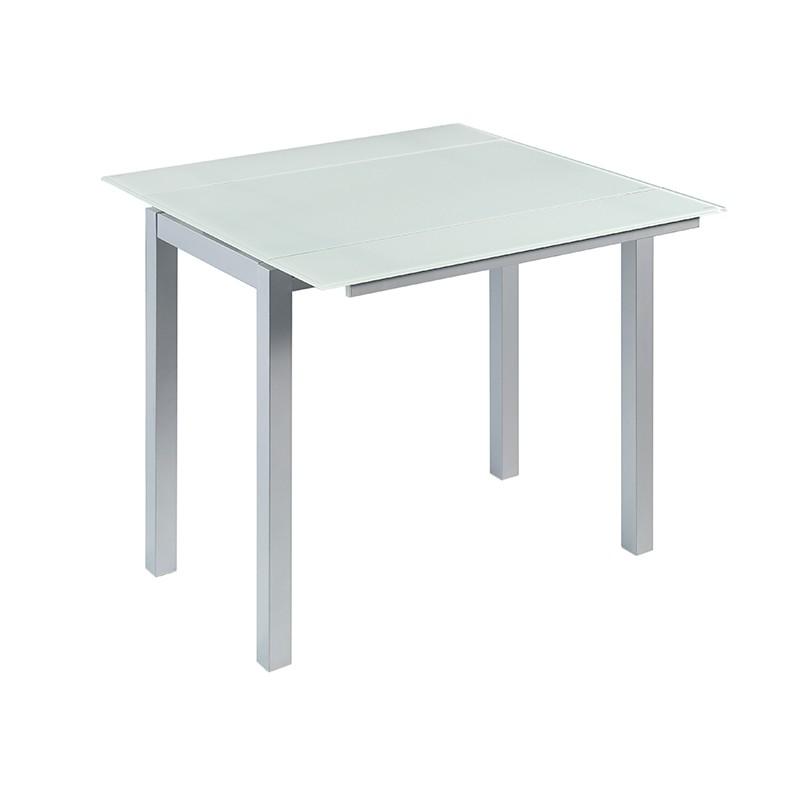 Mesa extensible en cristal blanco puro