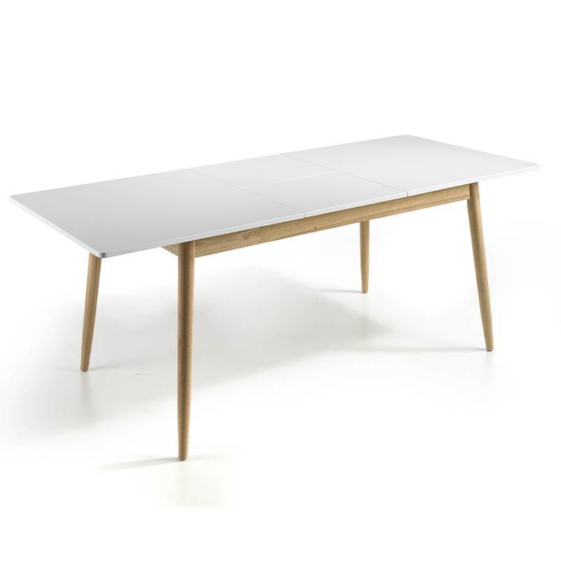 Mesa de comedor extensible de 160 cm blanco mate y roble