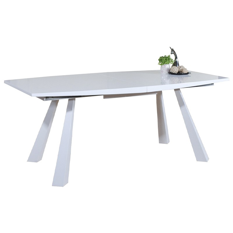 Mesa de salón extensible en Dm lacado blanco brillo