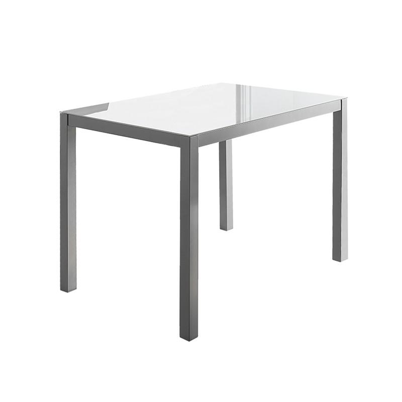 Mesa rectangular en cristal blanco puro
