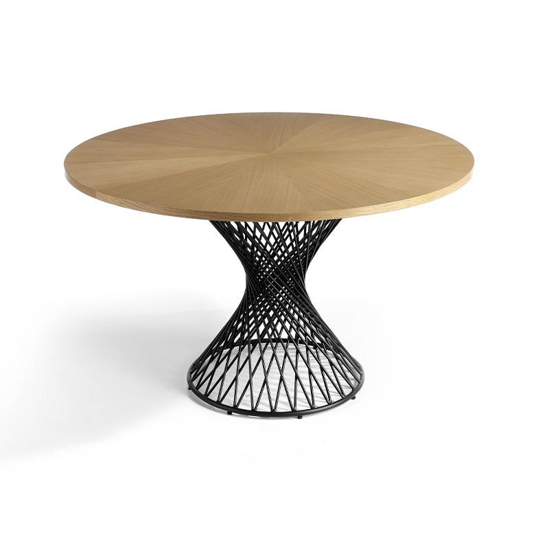 Mesa de salón circular tablero de roble