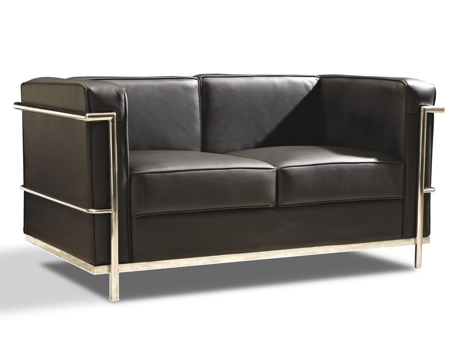 Sofá de 2 plazas en piel negra