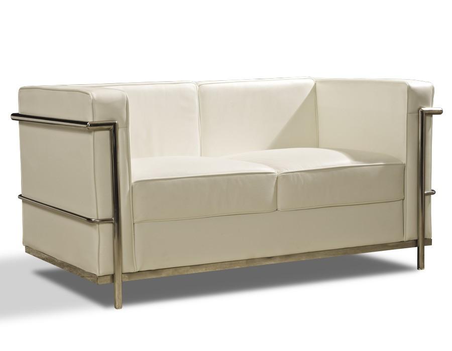 Sofá de 2 plazas en piel blanca