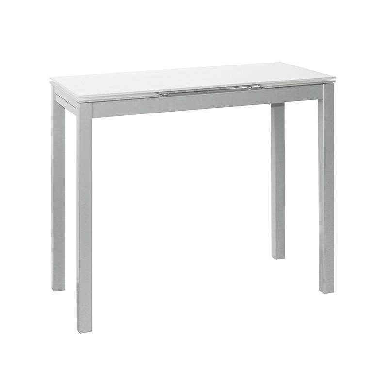 Mesa extensible en cristal color blanco puro