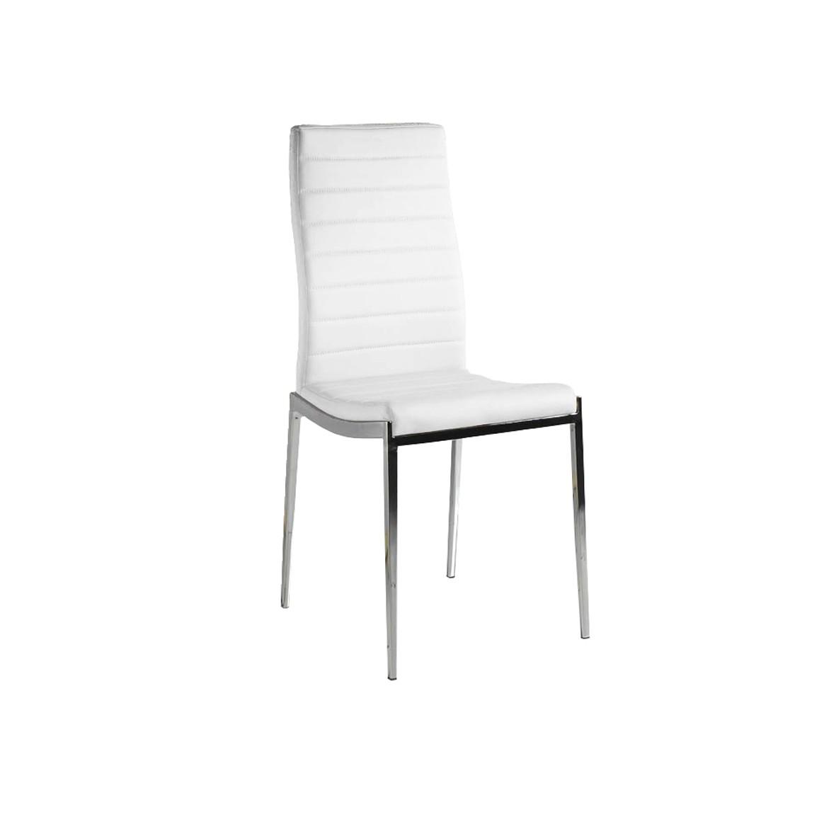 Pack 4 sillas polipiel color blanco