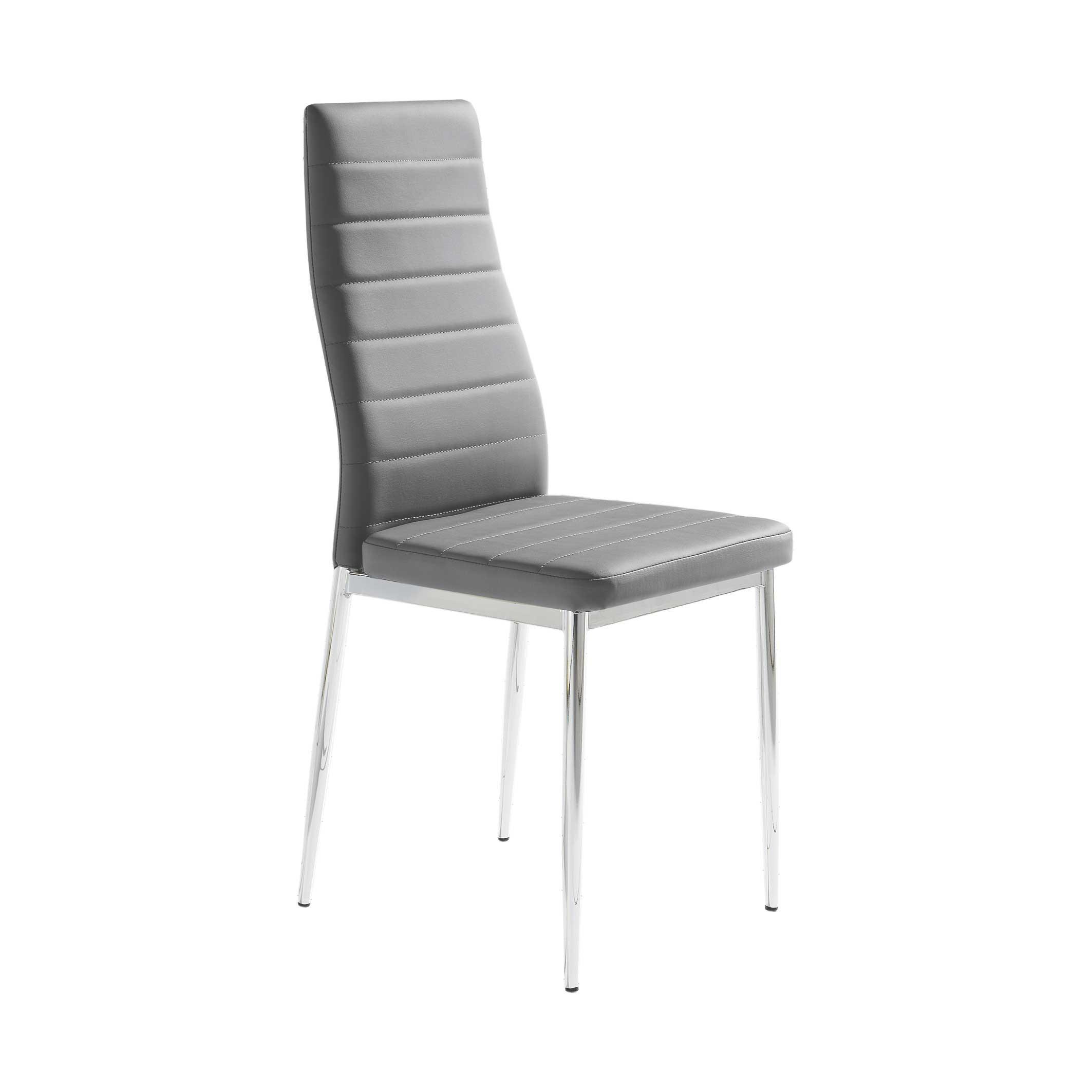 Pack 6 sillas polipiel color gris