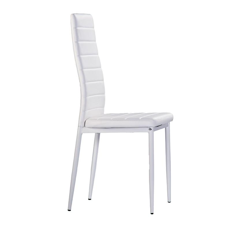 Pack 4 sillas en polipiel de color blanco