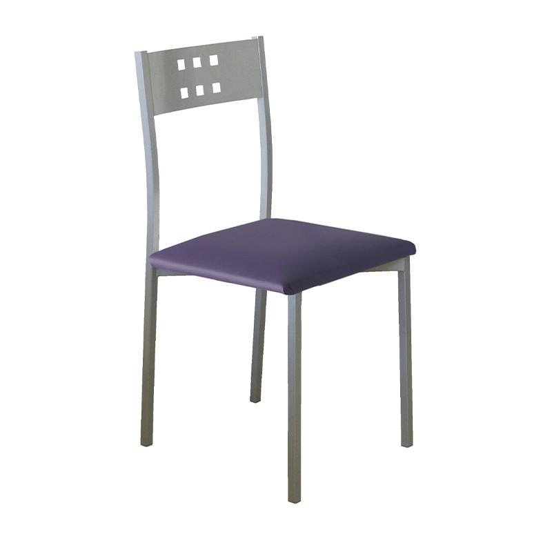 Pack 4 sillas Xara estructura metálica y tapizado morado
