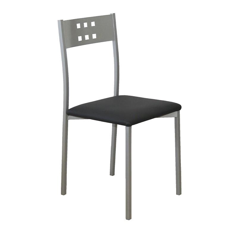 Pack 4 sillas Xara estructura metálica y tapizado negro