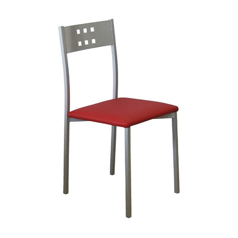 Pack 4 sillas Xara estructura metálica y tapizado rojo