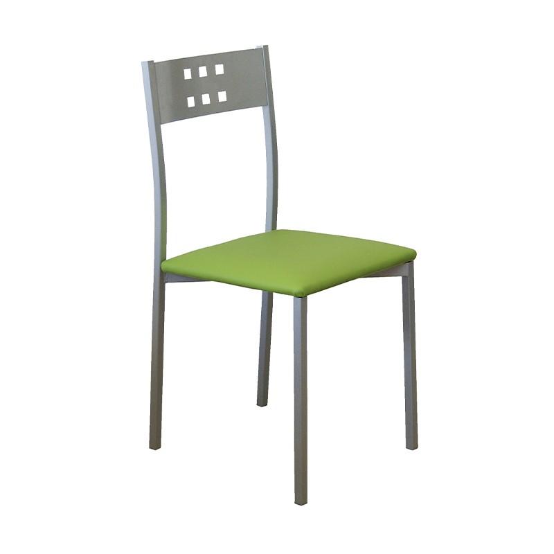 Pack 4 sillas Xara estructura metálica y tapizado verde