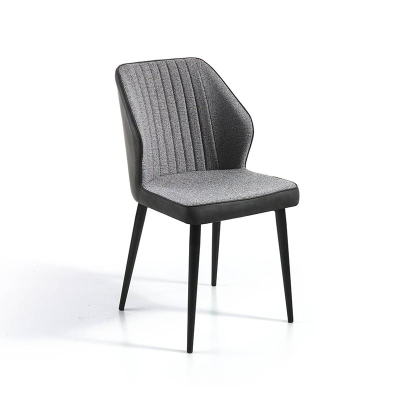 Pack 4 sillas tela gris jaspeada y trasera ecopiel gris oscuro