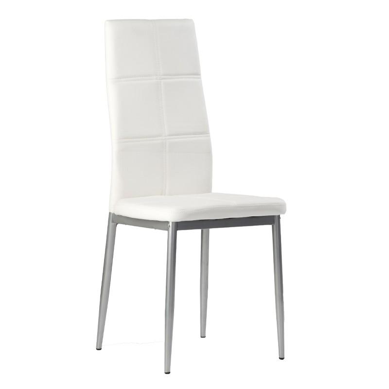 Pack 4 sillas estructura metálica y tapizado blanco