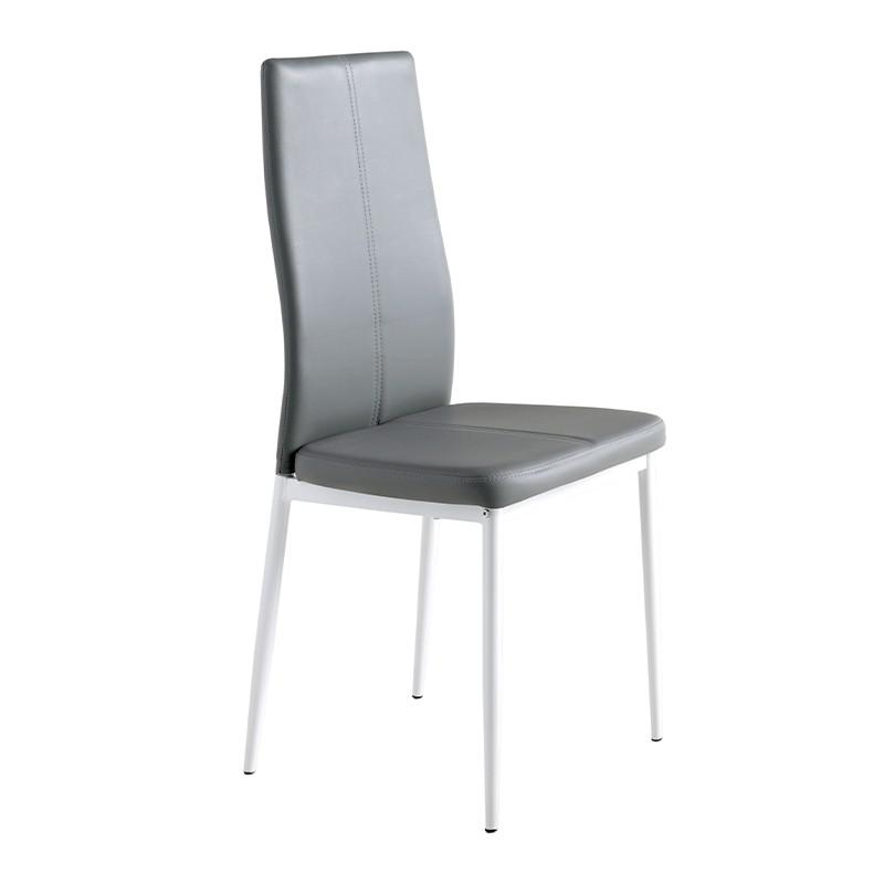 Pack 4 sillas  tapizada polipiel gris y patas blancas