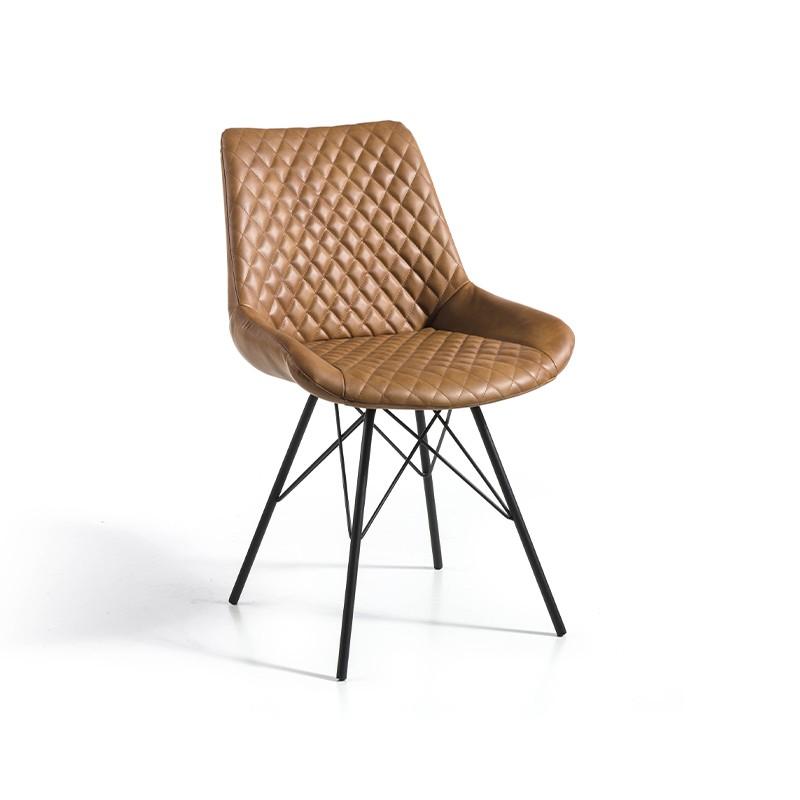 Pack 4 sillas de salón Migan tapizada en ecopiel marrón