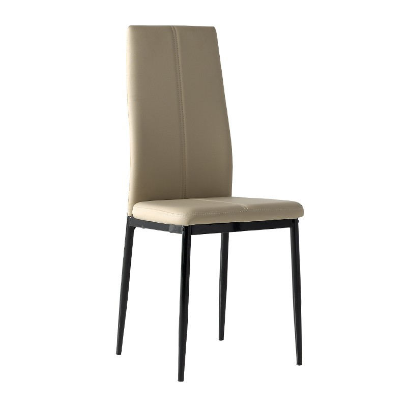 Pack 4 sillas tapizada en polipiel capuchino y estructura negra