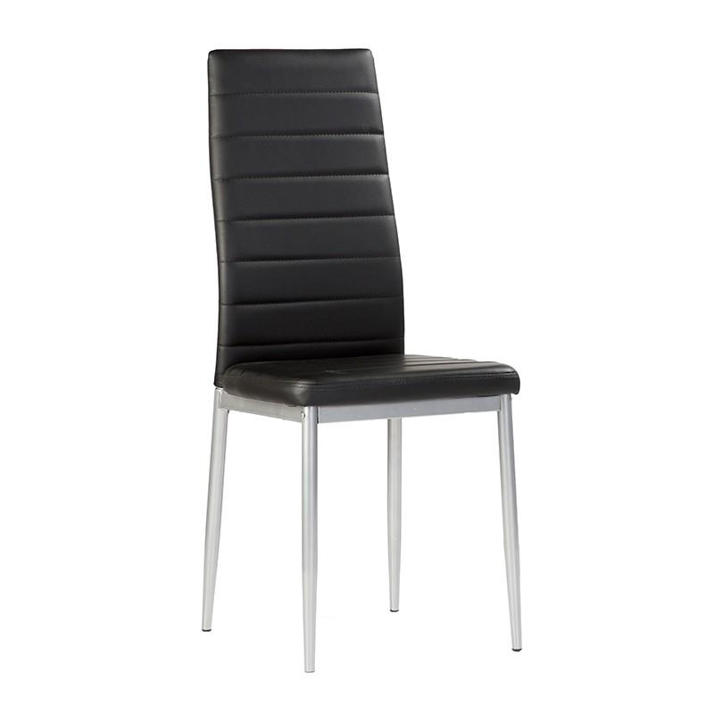 Pack 4 sillas tapizada en polipiel de color negro