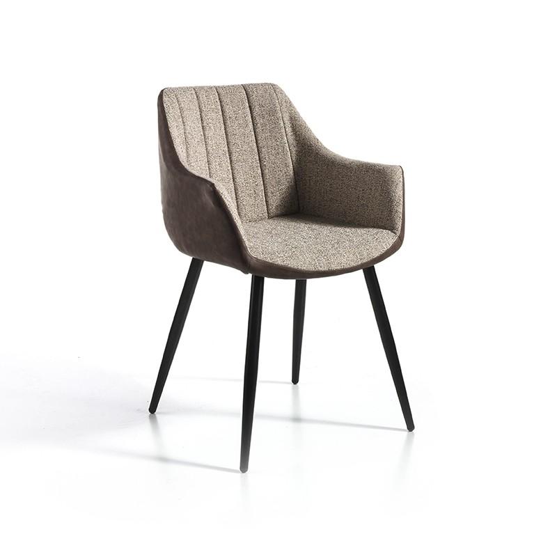 Pack 2 sillas tela beige y trasera ecopiel marrón