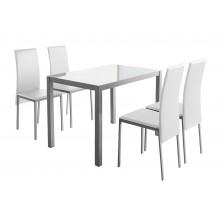 Conjunto mesa con 4 sillas a juego en color blanco