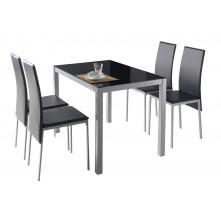 Conjunto mesa con 4 sillas a juego en color negro
