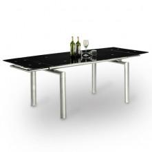 Mesa extensible de comedor con cristal negro mod. Marte