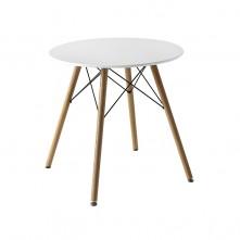 Mesa circular en Dm blanco con patas en madera haya