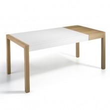 Mesa de salón extensible en blanco mate y roble